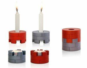Traveling Jerusalem inspired candlesticks, anodized aluminum Judaica made in Israel by Nadav Art