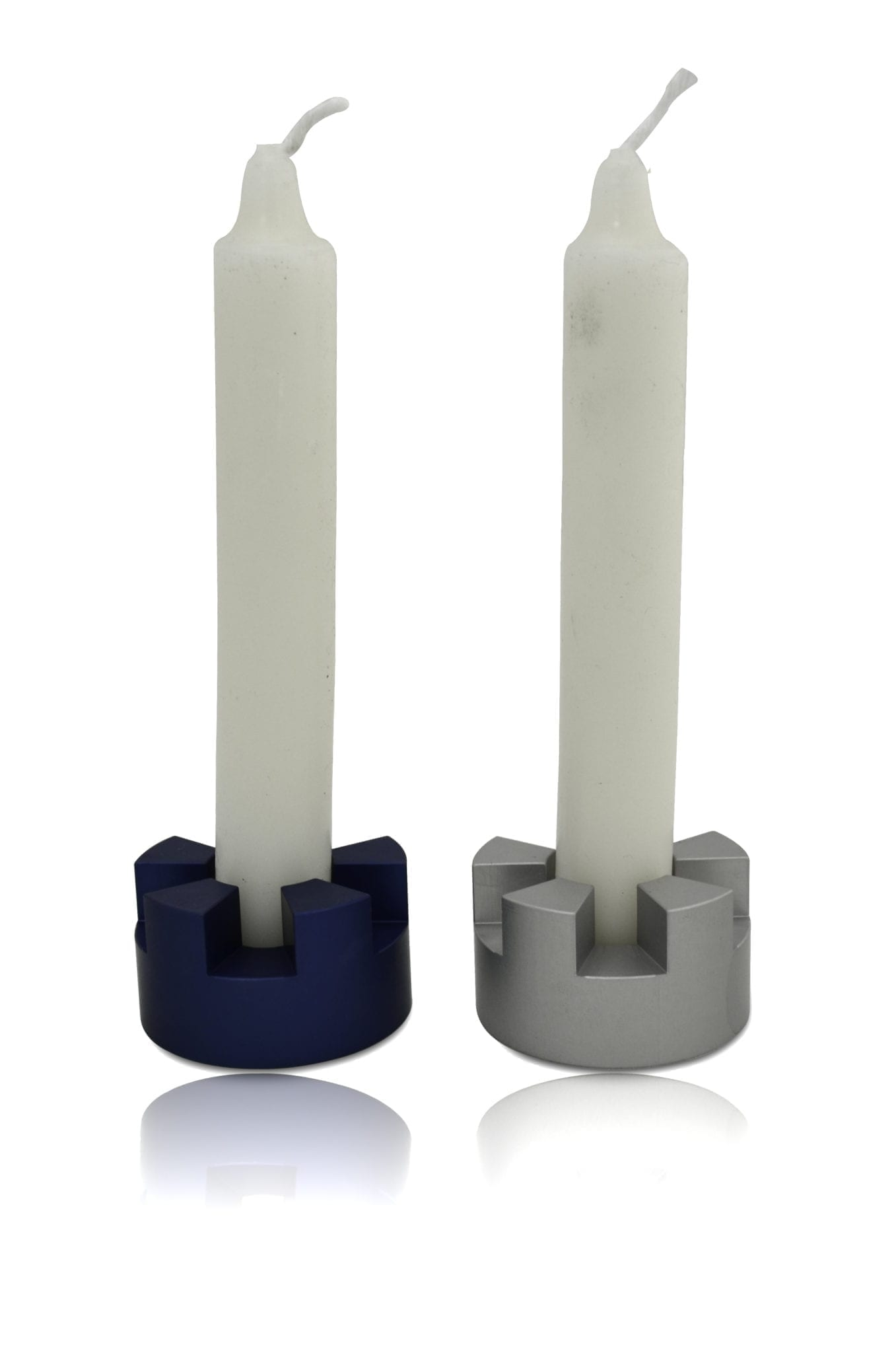 Mini traveling Jerusalem inspired candlesticks, anodized aluminum Judaica made in Israel by Nadav Art