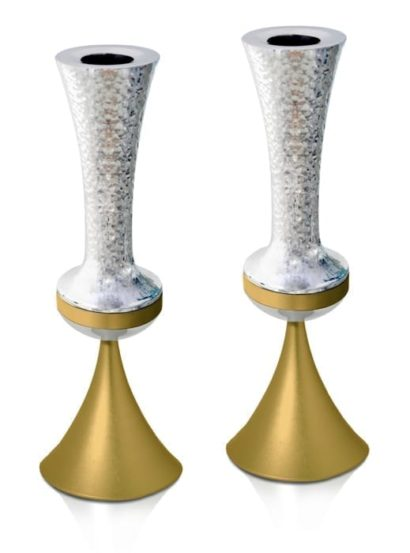 Modern hammered candlesticks, anodized aluminum home decor & Judaica made in Israel by Nadav Art