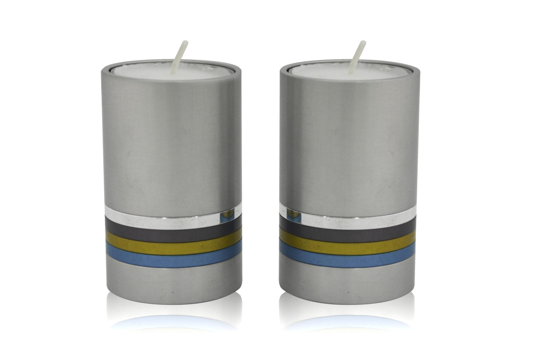 Petite grey cylindrical candlesticks with colorful rings, anodized aluminum Judaica & home decor made in Israel by Nadav Art