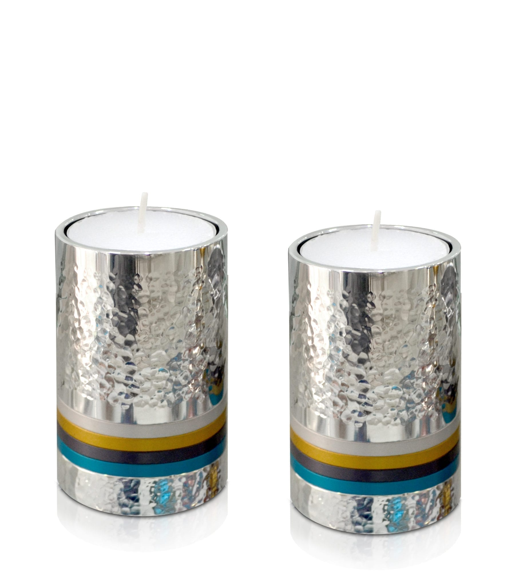 Petite, hammered silver cylindrical candlesticks with colorful rings, anodized aluminum Judaica & home decor made in Israel by Nadav Art