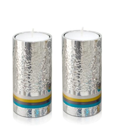 Small, hammered silver cylindrical candlesticks with colorful rings, anodized aluminum Judaica & home decor made in Israel by Nadav Art