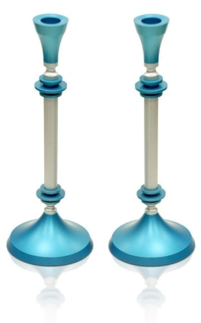 Tall elegant candlesticks, anodized aluminum Judaica & home decor made in Israel by Nadav Art