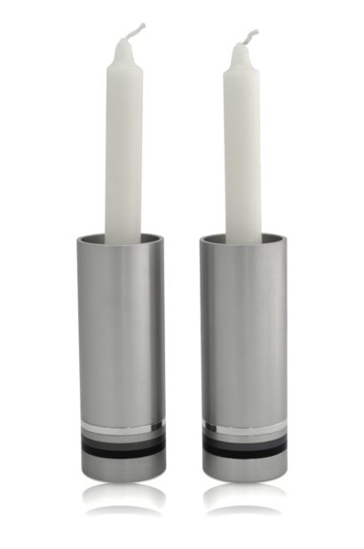 Medium grey cylindrical candlesticks with colorful rings, anodized aluminum Judaica & home decor made in Israel by Nadav Art