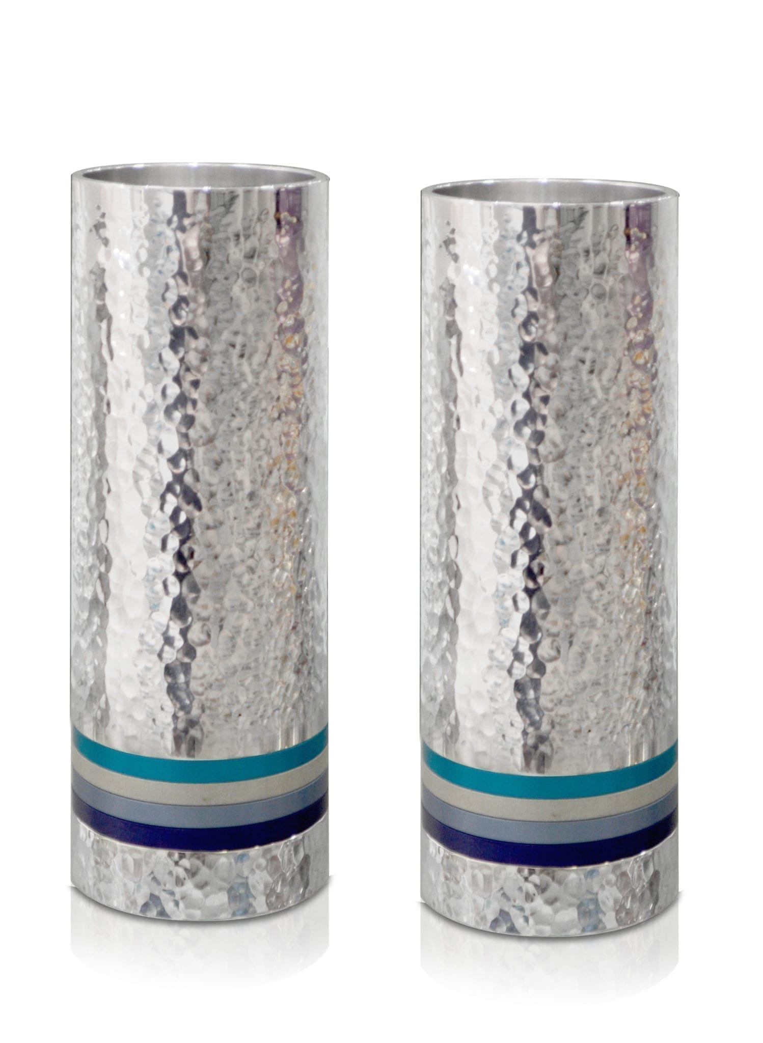 Medium, hammered silver cylindrical candlesticks with colorful rings, anodized aluminum Judaica & home decor made in Israel by Nadav Art