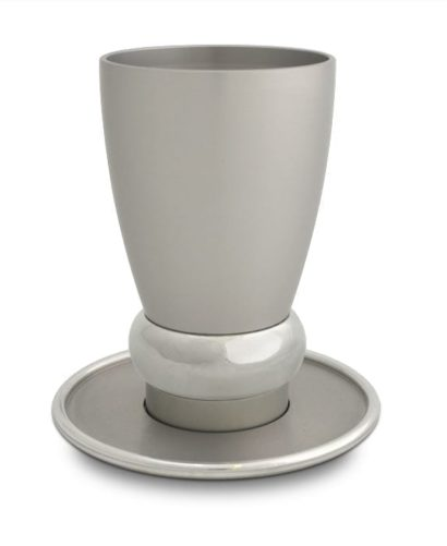 modern kiddush cup & plate set, anodized aluminum judaica made in Israel