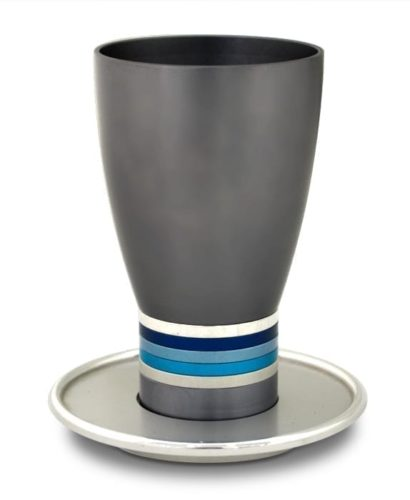 Egg-shaped Kiddush cup & plate set, anodized aluminum Judaica made in Israel by Nadav Art