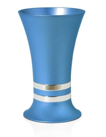 Flared, colorful Kiddush cup with decorative rings, anodized aluminum Judaica made in Israel by Nadav Art