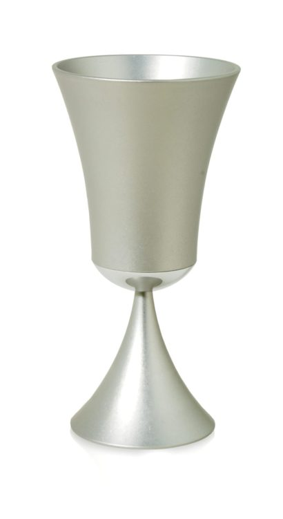 Modern, tall, flared Kiddush cup, anodized aluminum Judaica made in Israel by Nadav Art