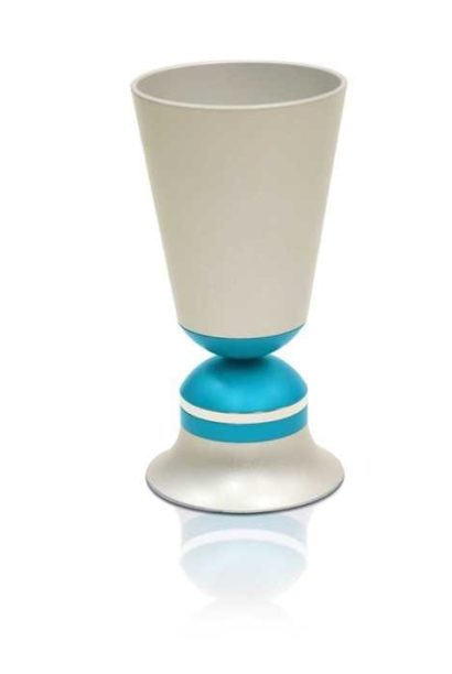 Straight, hourglass shaped Kiddush cup, anodized aluminum Judaica made in Israel by Nadav Art