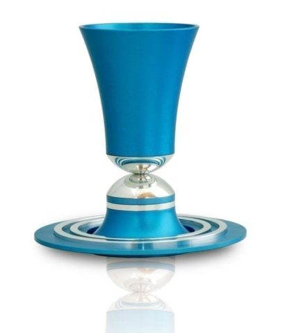 Flared, hourglass shaped Kiddush cup & plate set, anodized aluminum Judaica made in Israel by Nadav Art