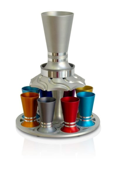 Colorful straight Kiddush wine fountain with 8 small cups, anodized aluminum Judaica made in Israel by Nadav Art