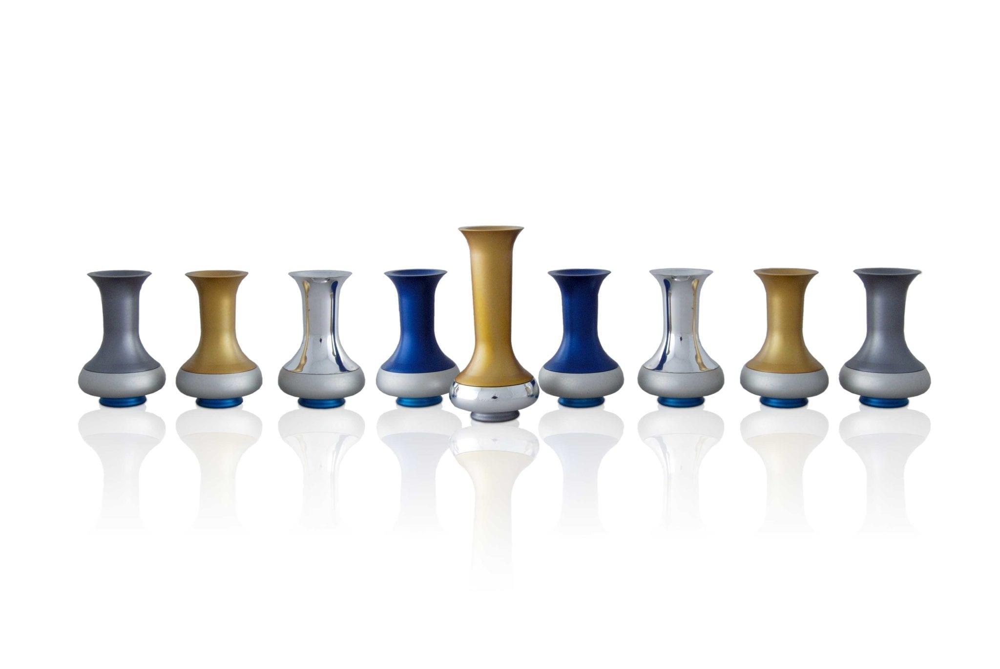 multicolored jug menorah, colorful Hanukkah judaica made in Israel