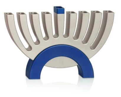Modern Blue Flipping Menorah
