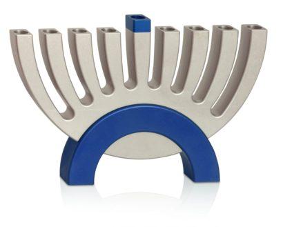 Modern Blue Flipping Menorah