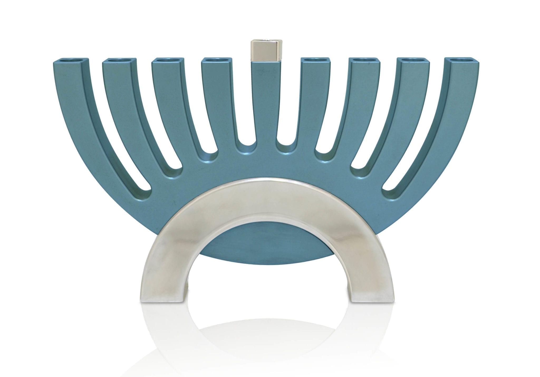shiny flipping menorah & candle holder, Hanukkah judaica made in Israel