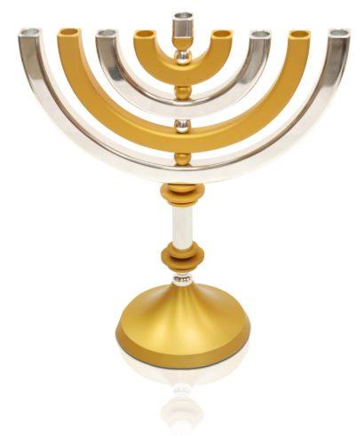 shiny kinetic menorah, modern hanukkah judaica made in israel