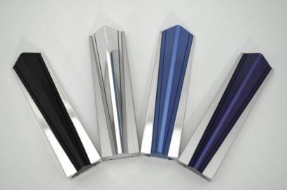 Modern mezuzah case, anodized aluminum Judaica made in Israel by Nadav Art