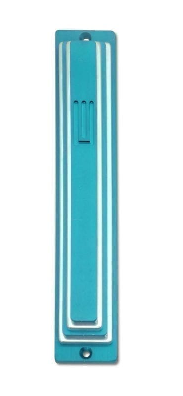 Large clorful tiered mezuzah case, anodized aluminum Judaica made in Israel by Nadav Art