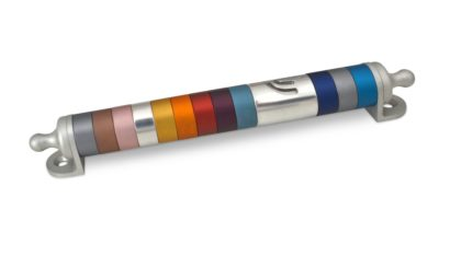 Medium rounded colorful mezuzah case, anodized aluminum Judaica made in Israel by Nadav Art