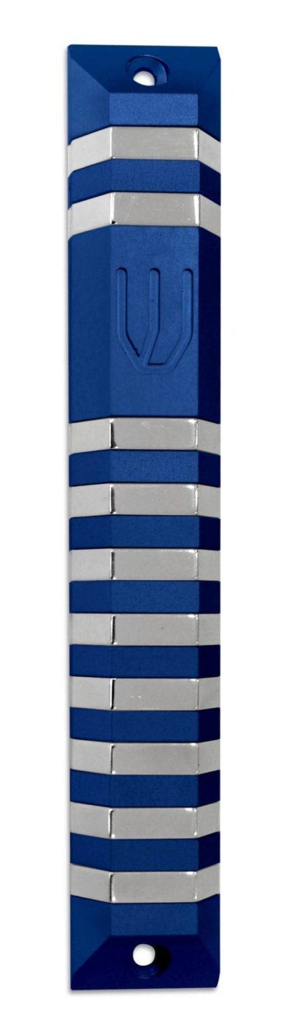 Extra large modern colorful trapeze mezuzah case, anodized aluminum Judaica made in Israel by Nadav Art