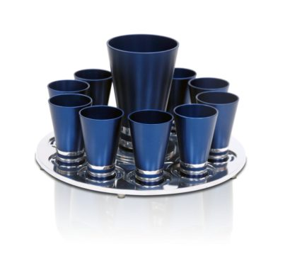 Liquor set with a straight Kiddush cup & 10 liquor cups, anodized aluminum Judaica made in Israel by Nadav Art
