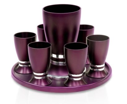Liquor set with an egg-shaped Kiddush cup & 6 liquor cups, anodized aluminum Judaica made in Israel by Nadav Art