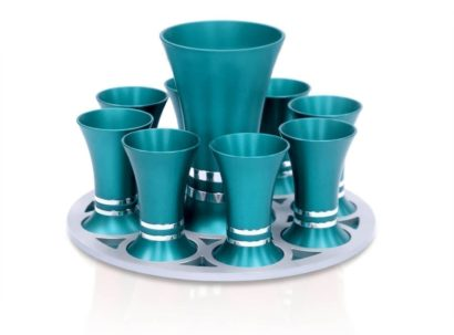 Liquor set with a flared Kiddush cup & 8 liquor cups, anodized aluminum Judaica made in Israel by Nadav Art