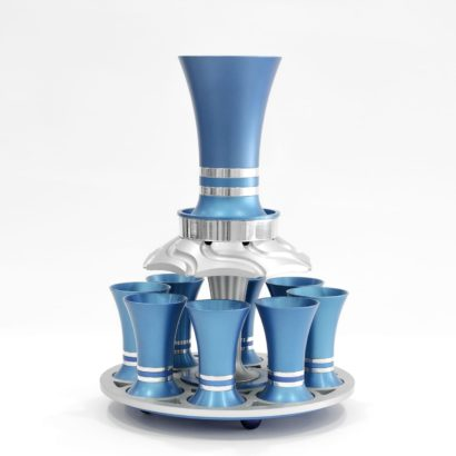 Colorful flared Kiddush wine fountain, anodized aluminum Judaica made in Israel by Nadav Art