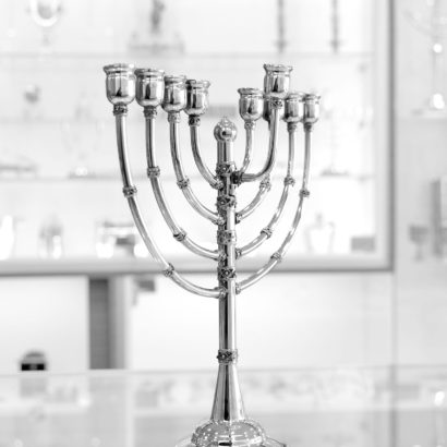 Sterling silver handmade large Hanukkah Menorah