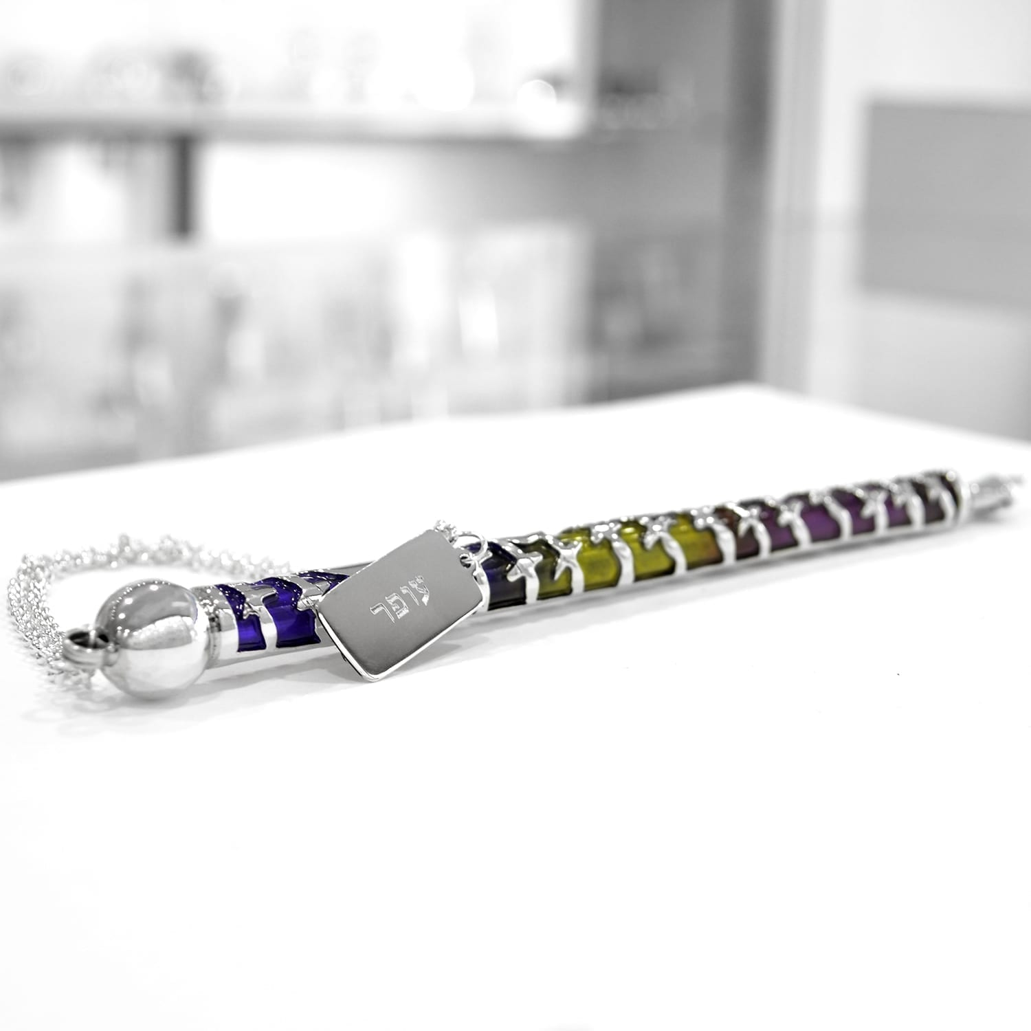 Glorious colorful cold enamel sterling silver Torah Pointer Yad. Judaica gifts made in Israel
