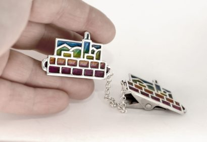 jerusalem inspired sterling silver tallit clips, jewish gifts for him, judaica made in Israel