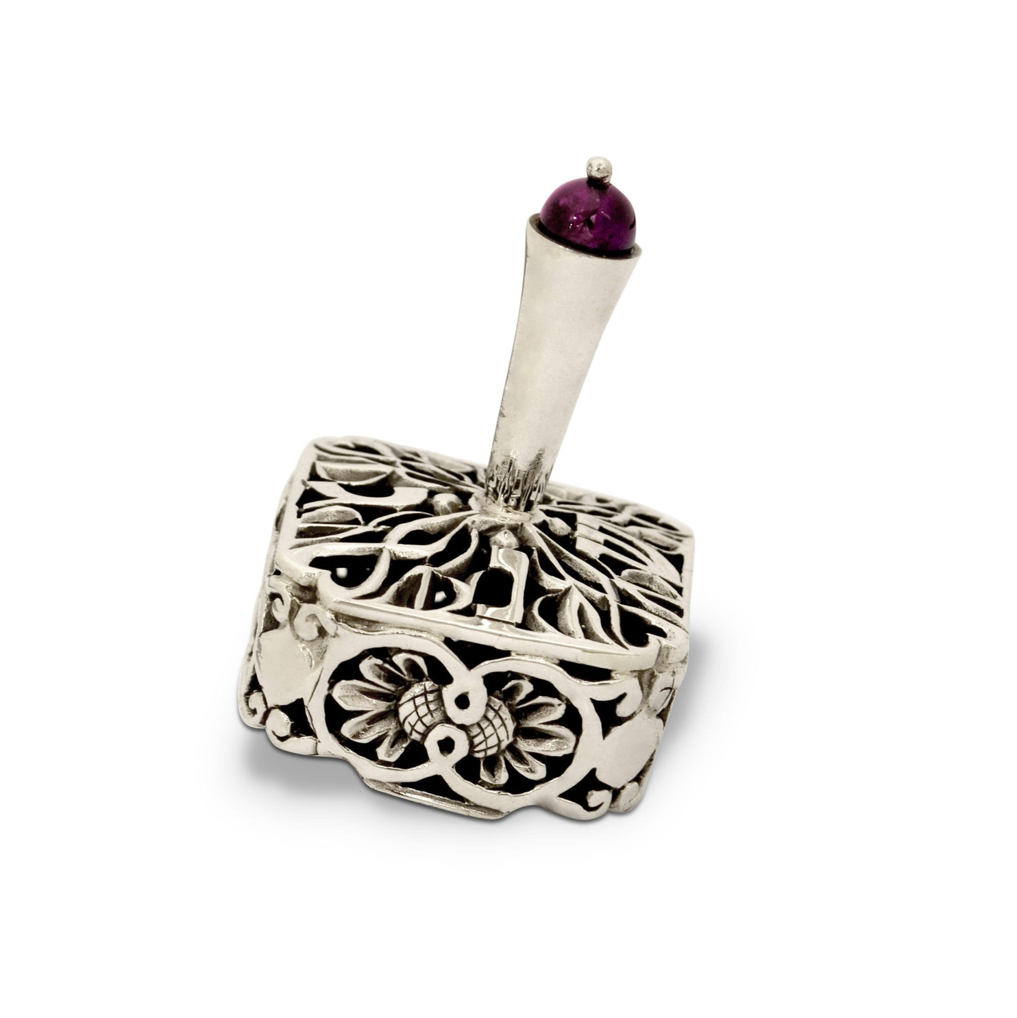 Sterling silver square dreidel with semi-precious stones. Hannukah Judaica gifts made in Israel