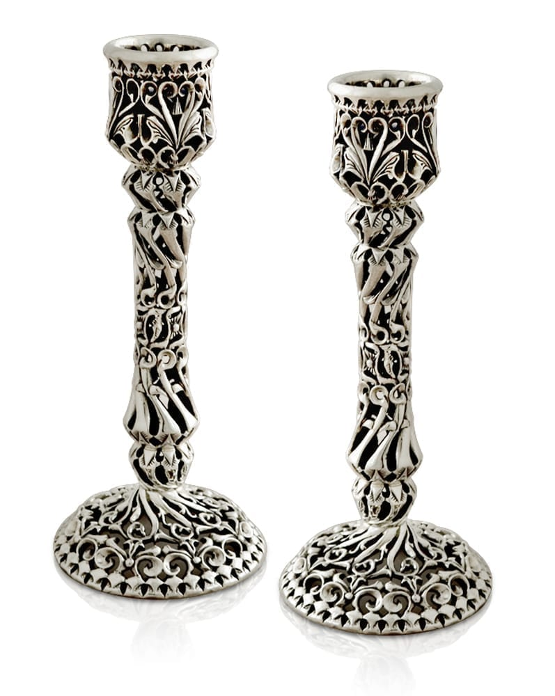 Hand-carved sterling silver candlesticks. Shabbat Judaica made in Israel