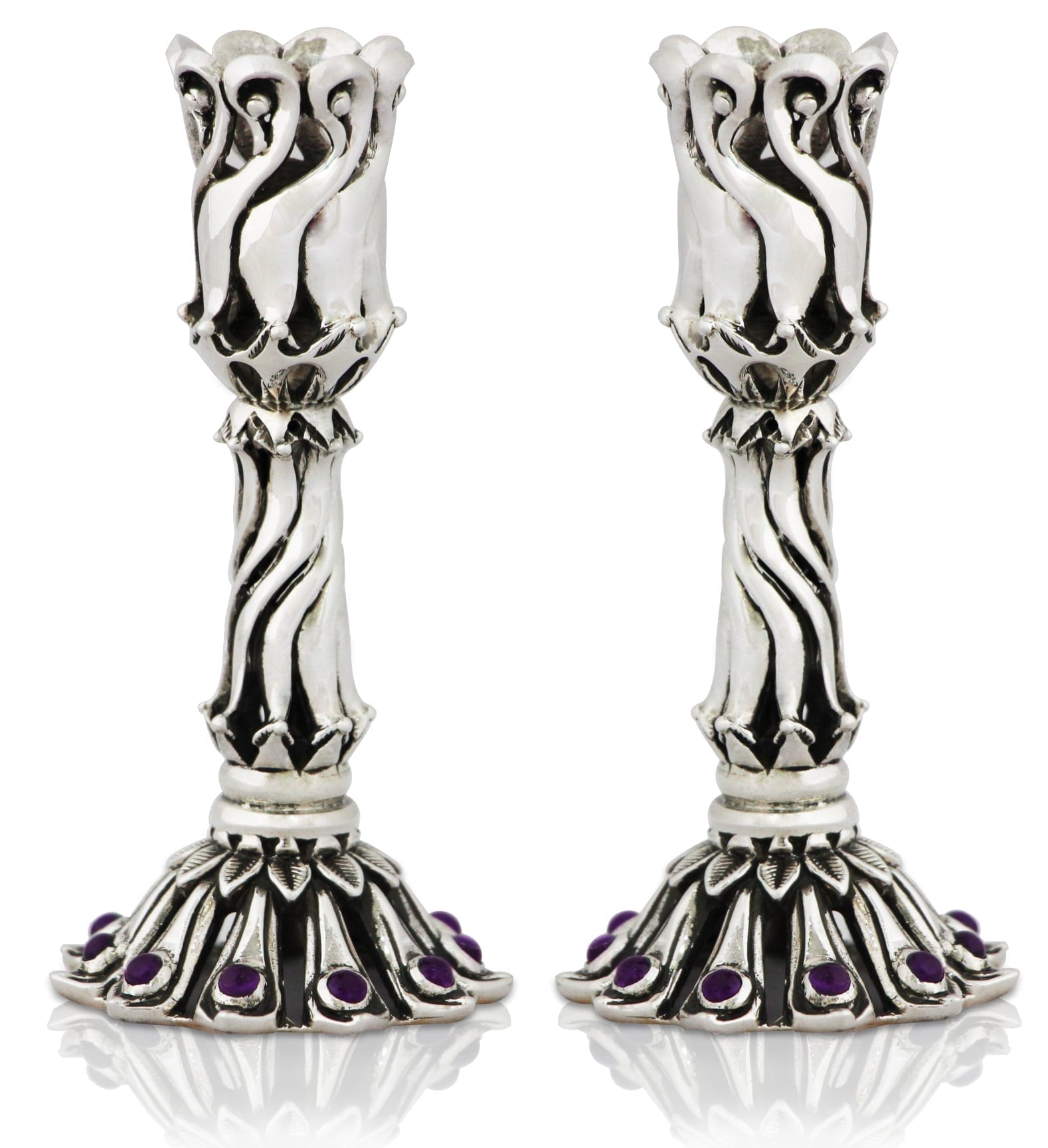 Petite sterling silver candlesticks with semi-precious amethyst stones. Shabbat Judaica made in Israel