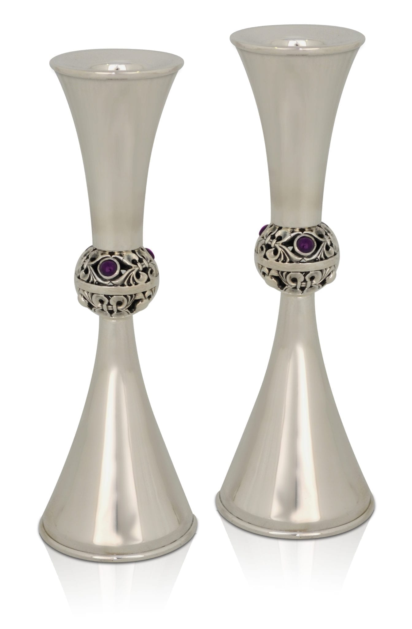 Flowing sterling silver candlesticks with semi-precious amethyst stones. Shabbat Judaica made in Israel