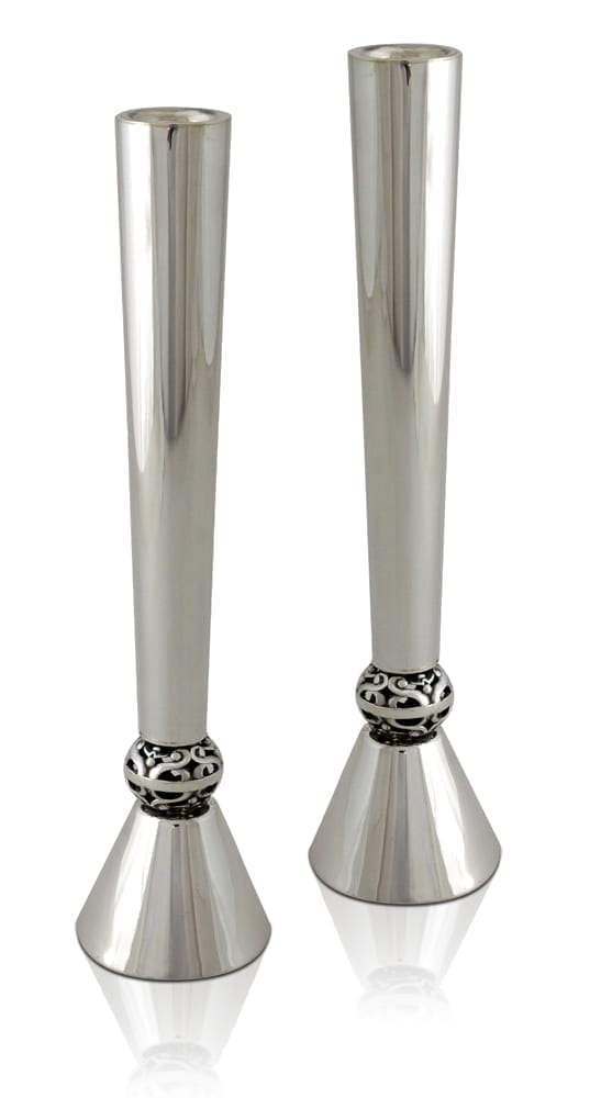 Angled, floral sterling silver candlesticks. Shabbat Judaica made in Israel