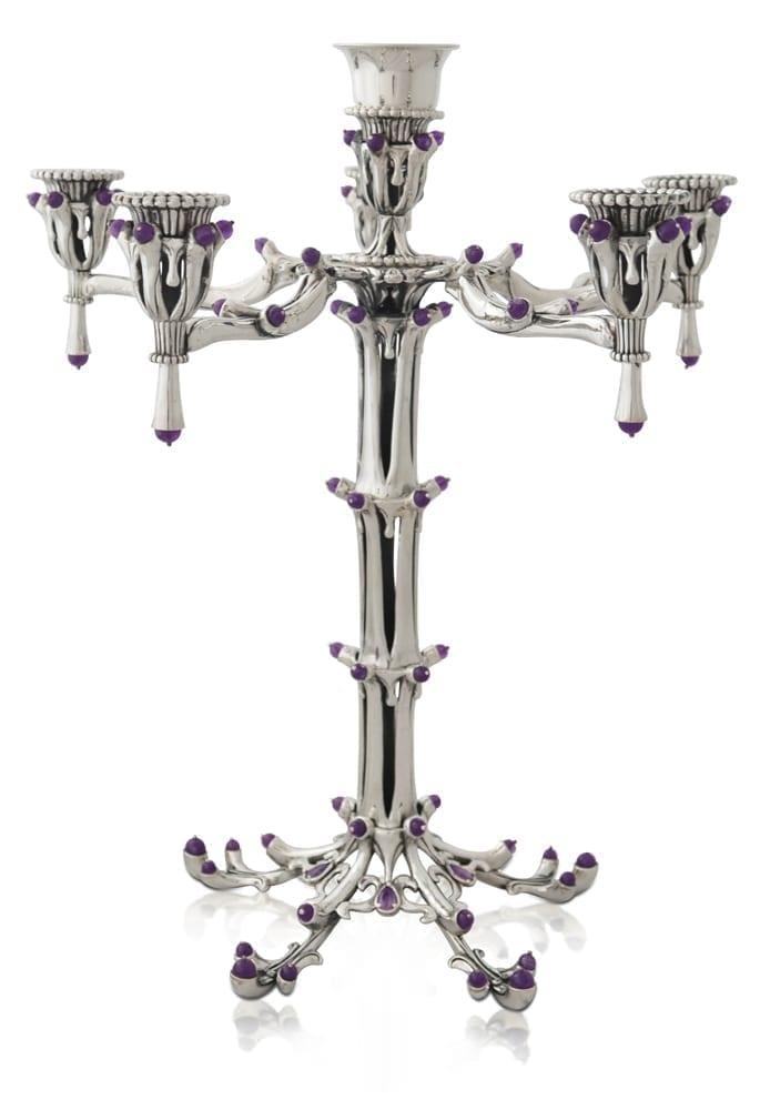 Sterling silver candelabra with sem-precious amethyst stones. Shabbat Judaica made in Israel