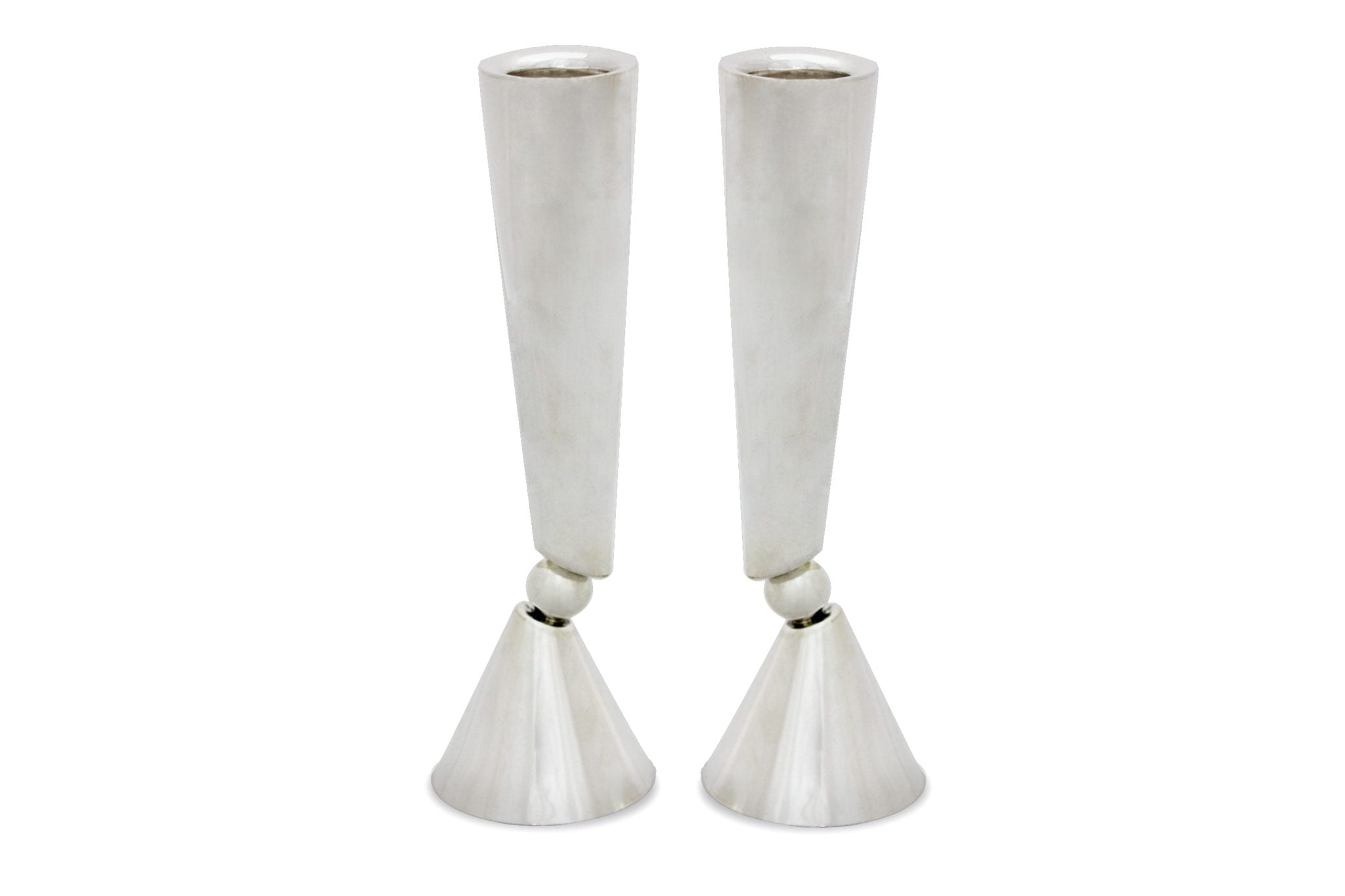 Modern sterling silver candlesticks. Shabbat Judaica made in Israel