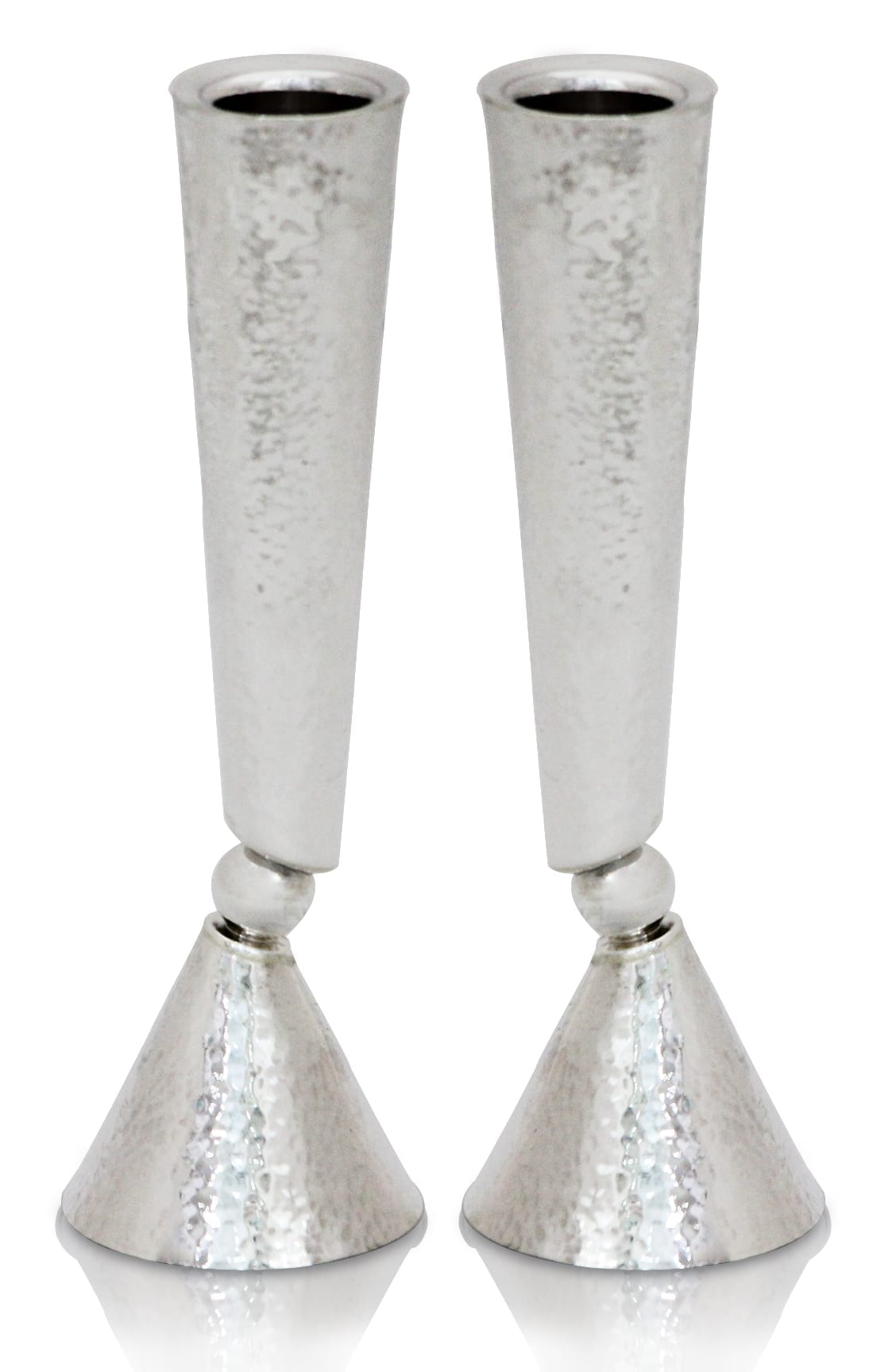 Modern hammered sterling silver candlesticks. Shabbat Judaica made in Israel