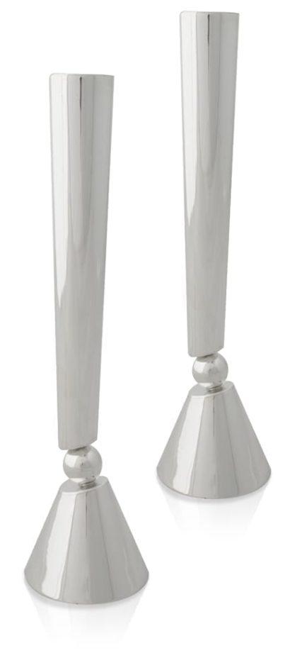 Grand, modern sterling silver candlesticks. Shabbat Judaica made in Israel