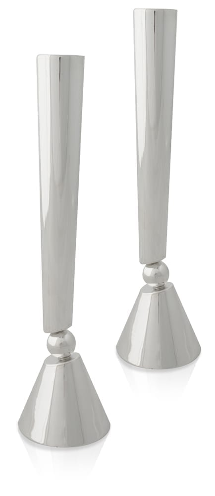 Grand, modern sterling silver candlesticks. Shabbat Judaica made in Israel