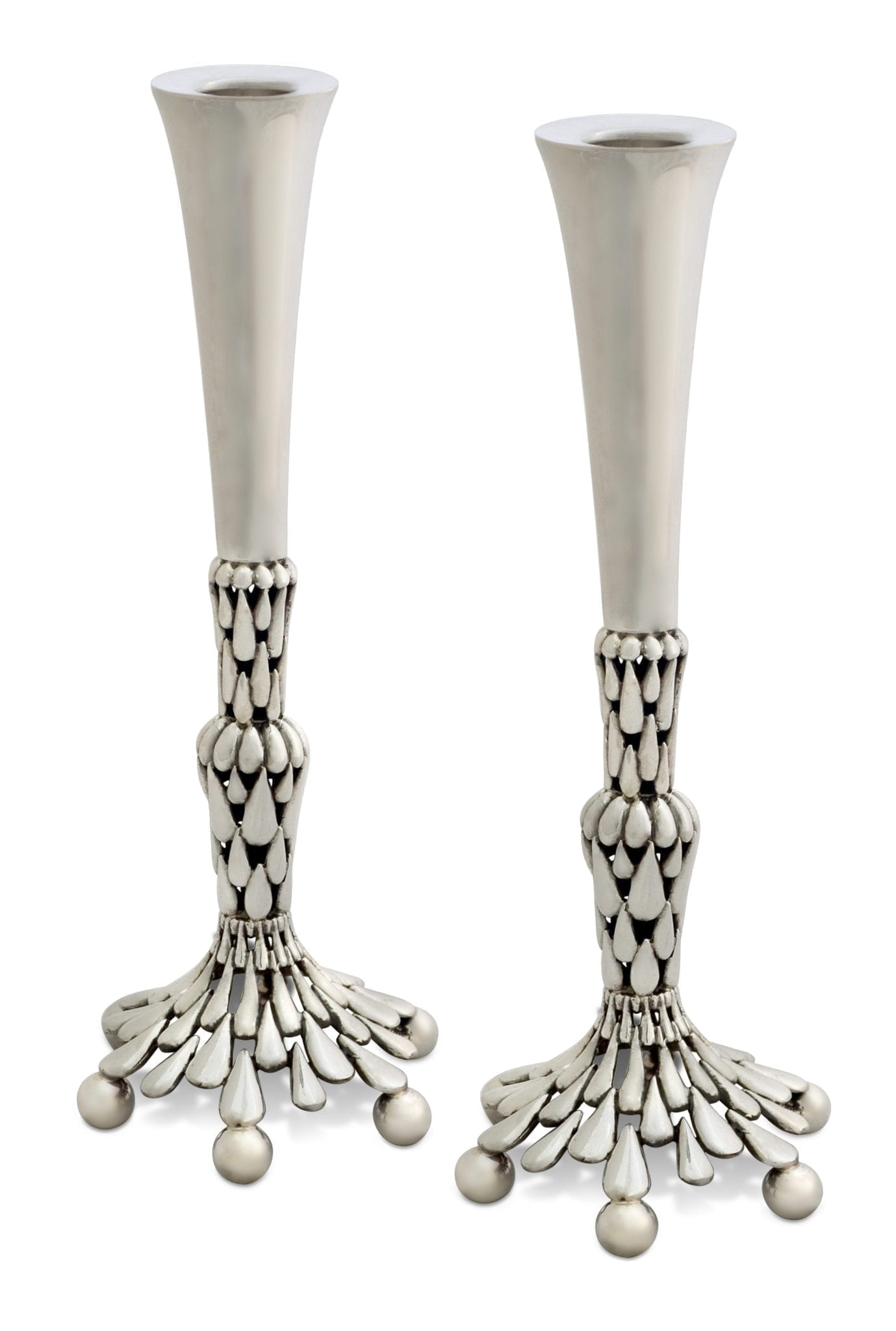 Grand, hand-carved sterling silver candlesticks. Shabbat Judaica made in Israel