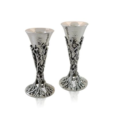 Nature-inspired sterling silver candlesticks. Shabbat Judaica made in Israel