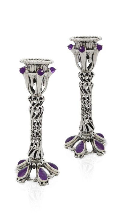 Hand-carved sterling silver candlesticks with amethyst stones. Shabbat Judaica made in Israel