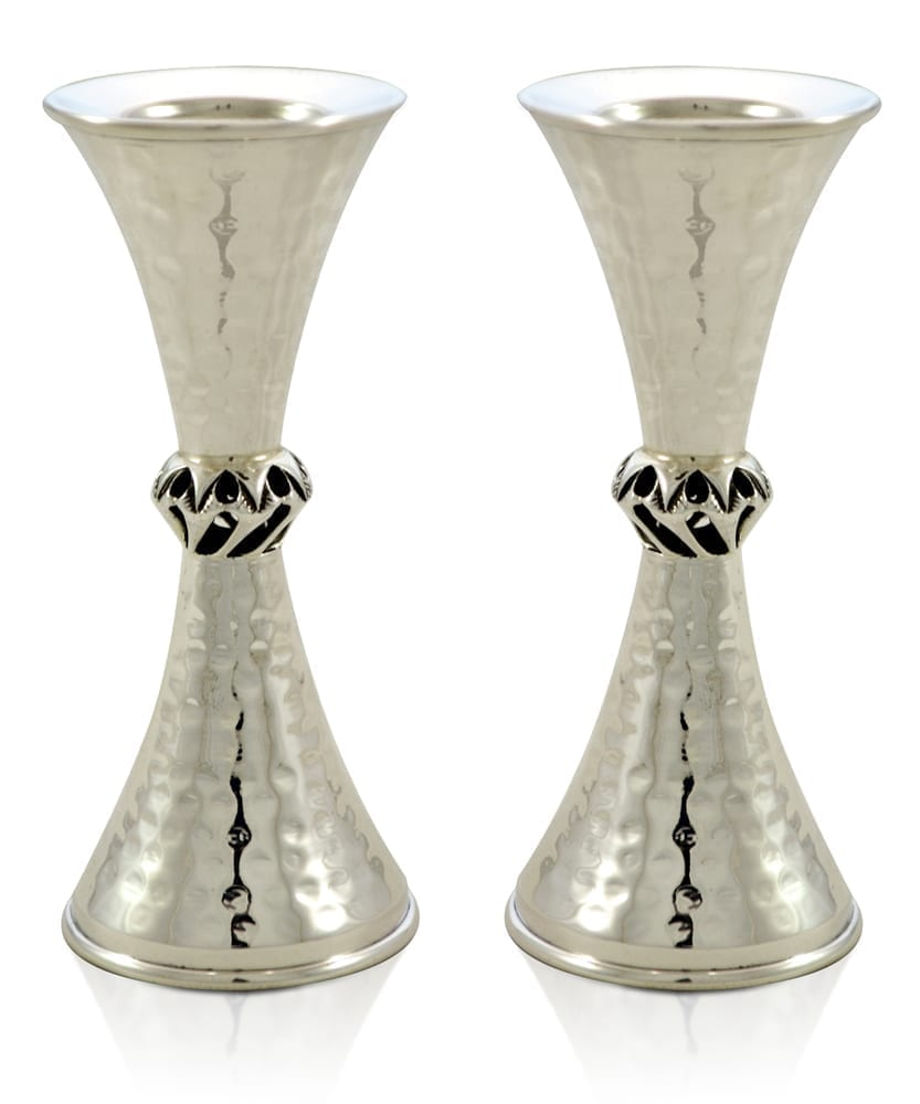 Judaic, hammered sterling silver candlesticks. Shabbat Judaica made in Israel