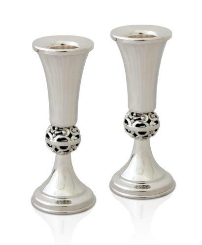 Petite, modern sterling silver candlesticks. Shabbat Judaica made in Israel