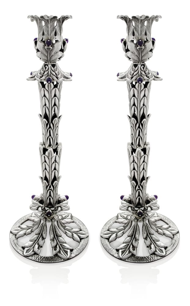 Tall Flower Silver Candlesticks