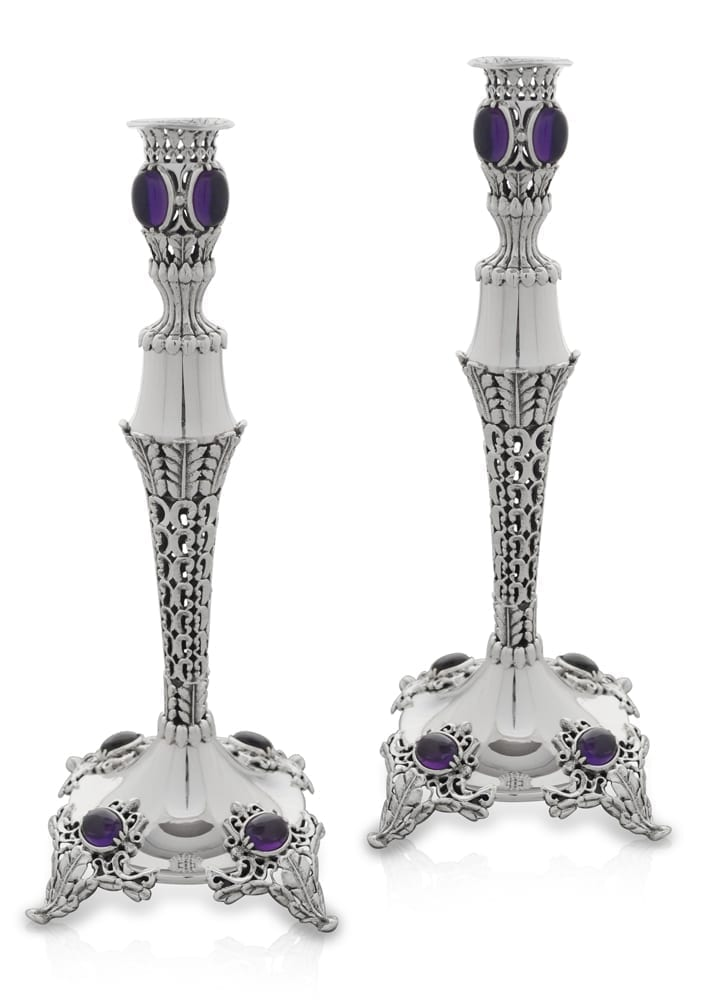 Timeless sterling silver candlesticks with amethyst stones. Shabbat Judaica made in Israel