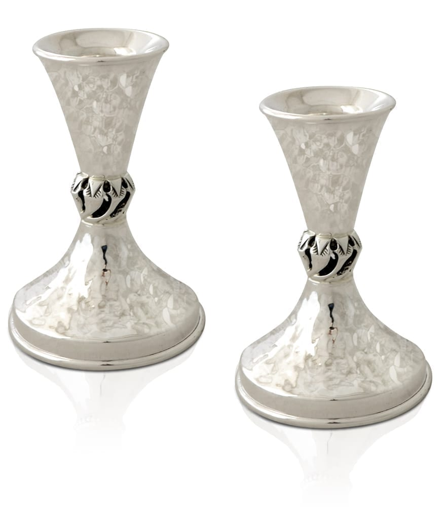 Hammered cone-shaped mini sterling silver candlesticks. Shabbat Judaica made in Israel